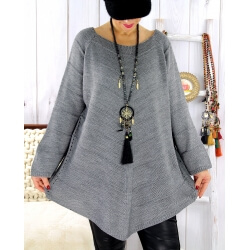 Pull tunique femme grande taille trapèze gris DONNA Pull femme