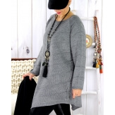 Pull tunique femme grande taille trapèze gris DONNA Pull femme