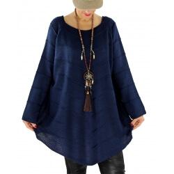 Pull tunique femme grande taille trapèze DONNA Bleu marine