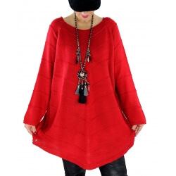 Pull tunique femme grande taille trapèze DONNA Rouge