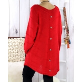 Pull tunique femme grande taille trapèze rouge DONNA Pull femme