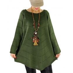 Pull tunique femme grande taille trapèze DONNA Vert