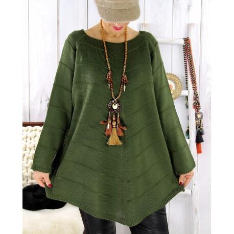 Pull tunique femme grande taille trapèze vert DONNA Pull femme
