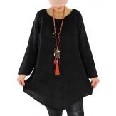 Pull tunique femme grande taille trapèze noir DONNA Pull femme