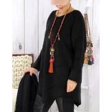 Pull tunique femme grande taille trapèze DONNA Noir