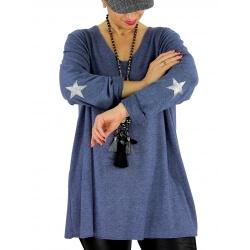 Pull tunique grande taille étoiles NEUTRON bleu