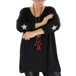 Pull tunique grande taille étoiles NEUTRON Noir
