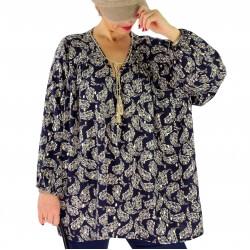 Tunique blouse grande taille pompons plumes BAMBOU