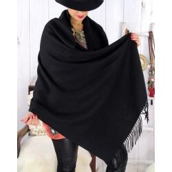 Étole châle laine cachemire hiver STELLA Noir Écharpe femme