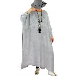 Robe poncho grande taille hiver LOCO gris clair