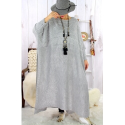 Robe poncho grande taille hiver gris clair LOCO Robe longue grande taille