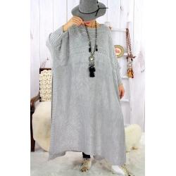 Robe poncho grande taille hiver gris clair LOCO Robe longue grande taille
