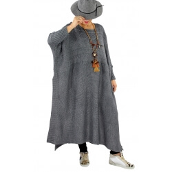 Robe pull poncho grande taille hiver LOCO gris foncé