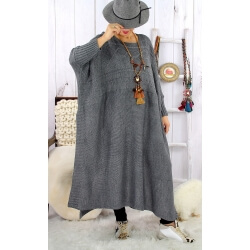 Robe pull poncho grande taille hiver gris foncé LOCO Robe longue grande taille