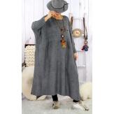 Robe pull poncho grande taille hiver gris foncé LOCO Robe longue grande taille