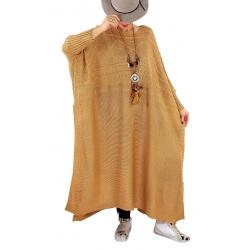 Robe pull poncho grande taille hiver LOCO Camel