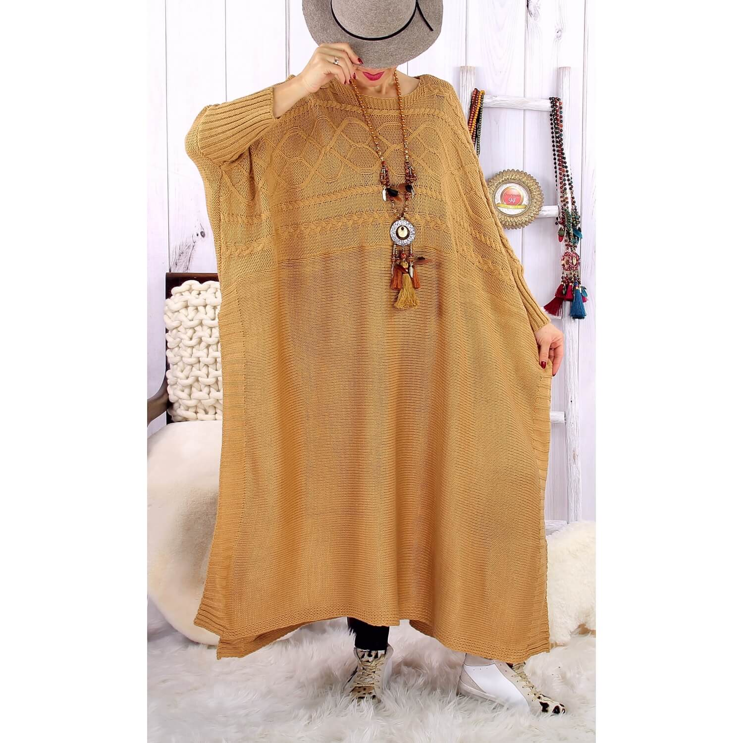 Robe Pull Poncho Grande Taille Hiver Camel Loco Charleselie94
