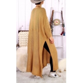 Robe pull poncho grande taille hiver camel LOCO Robe longue grande taille