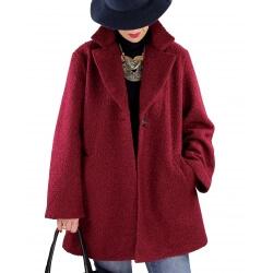 Manteau lainage femme grande taille SAPHIR Bordeaux