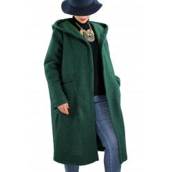 Manteau capuche laine grande taille PROMETA Vert sapin