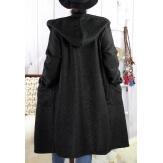 Manteau capuche laine grande taille PROMETA Noir