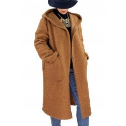 Manteau capuche laine grande taille PROMETA Camel