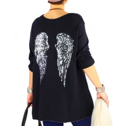 Pull tunique femme grande taille ailes DADDY Noir-Pull femme-CHARLESELIE94