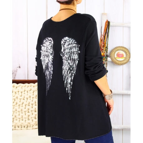 Pull tunique femme grande taille ailes noir DADDY Pull femme
