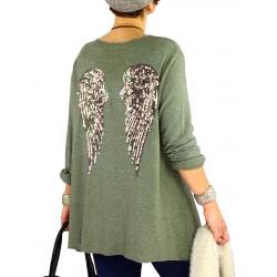Pull tunique femme grande taille ailes DADDY kaki
