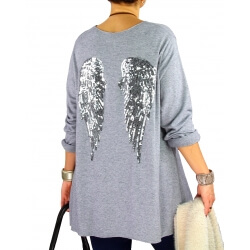 Pull tunique femme grande taille ailes DADDY Gris