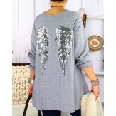 Pull tunique femme grande taille ailes gris DADDY Pull femme