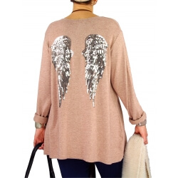 Pull tunique femme grande taille ailes DADDY Camel