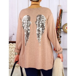 Pull tunique femme grande taille ailes DADDY Camel Pull femme