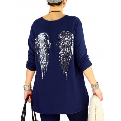 Pull tunique femme grande taille ailes DADDY Bleu marine