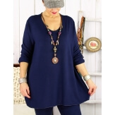 Pull tunique femme grande taille ailes bleu marine DADDY Pull femme