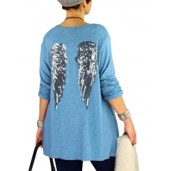 Pull tunique femme grande taille ailes DADDY Bleu clair