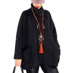 Pull tunique femme grande taille hiver BASTIA Noir