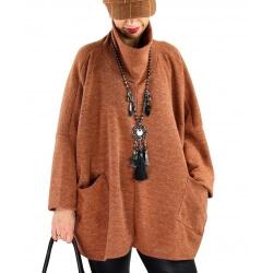 Pull tunique femme grande taille hiver BASTIA Brique