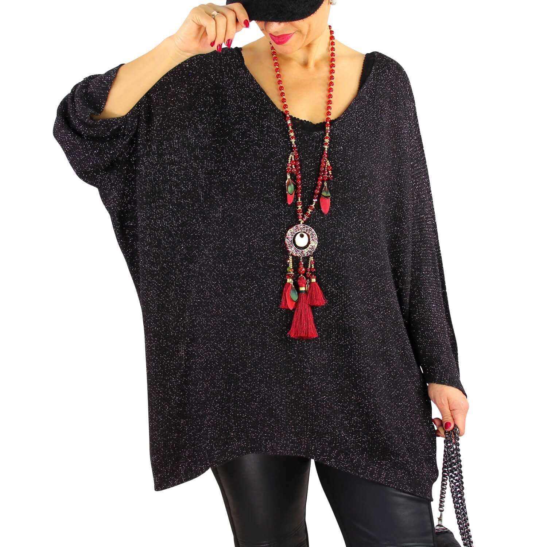 Pull femme grande taille lurex oversize TOSCA Noir