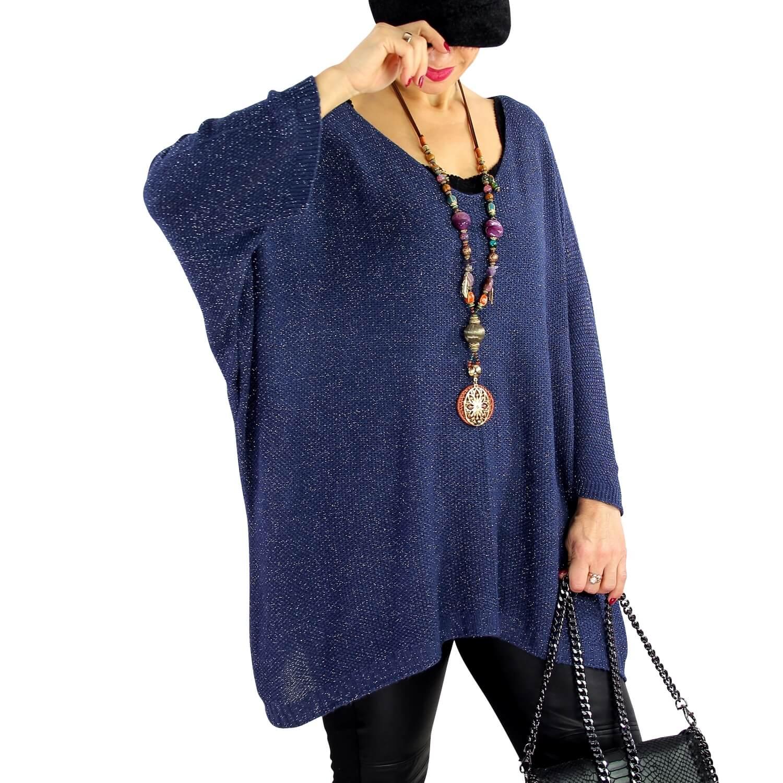 Pull femme grande taille lurex oversize TOSCA Bleu marine