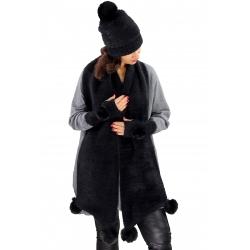 Pack écharpe bonnet gants laine pompons GLACIER Noir