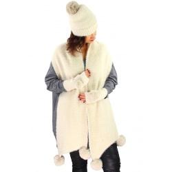Pack écharpe bonnet gants laine pompons GLACIER Beige