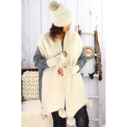 Pack écharpe bonnet gants laine pompons beige GLACIER Bonnet écharpe femme