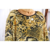 Pull tunique femme grande taille hiver MONOPOLY Moutarde
