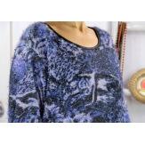 Pull tunique femme grande taille hiver MONOPOLY Bleu