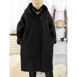 Manteau hiver capuche bouclette noir EDDY Manteau femme grande taille