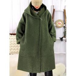 Manteau hiver capuche bouclette kaki EDDY Manteau femme grande taille