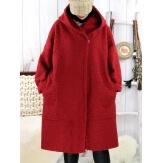 Manteau hiver capuche bouclette rouge EDDY Manteau femme grande taille
