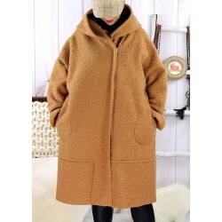 Manteau hiver capuche bouclette camel EDDY Manteau femme grande taille