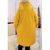 Manteau capuche bouclette moutarde EDDY Manteau femme grande taille